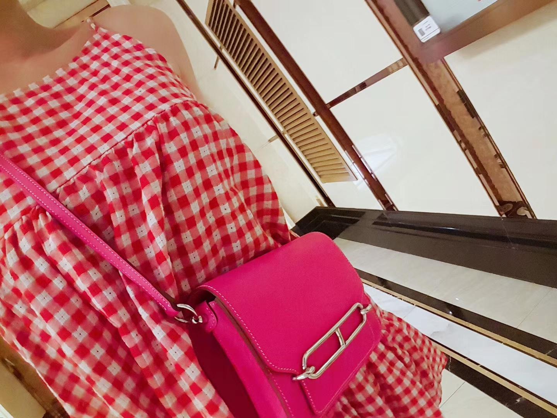 Hermès(爱马仕)roulis 猪鼻包 桃红 swift 银扣 19cm