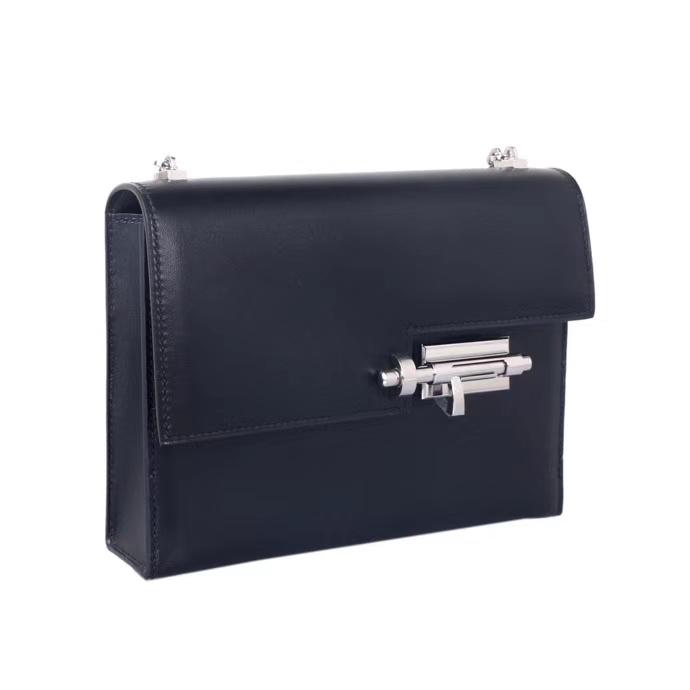 Hermès(爱马仕)Verrou Chaîne 锁链包 黑色 box皮 银扣 17cm