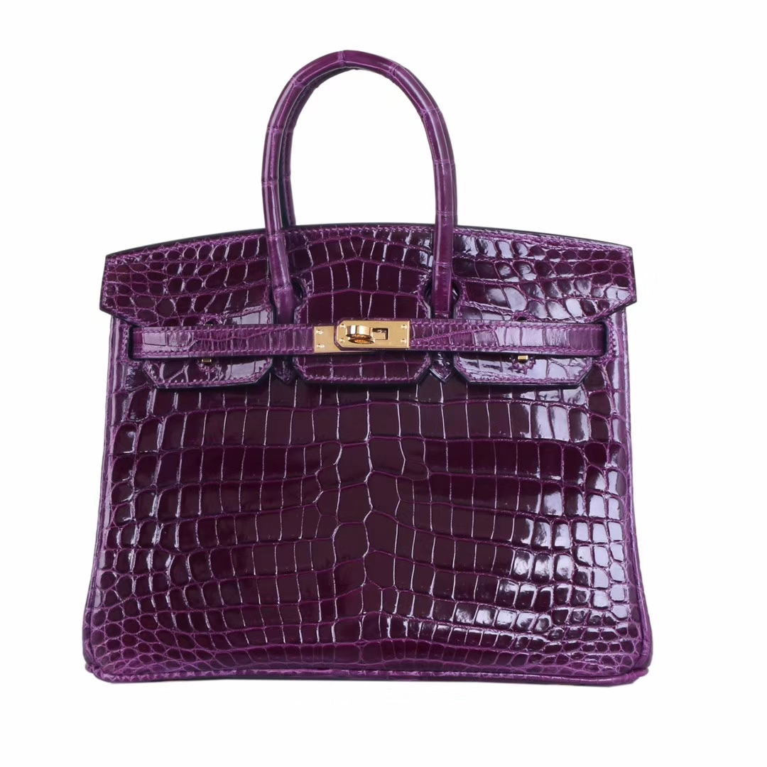 Hermès(爱马仕)birkin 铂金包  金扣 ck59葡萄紫 亮面尼罗鳄 25cm 出货