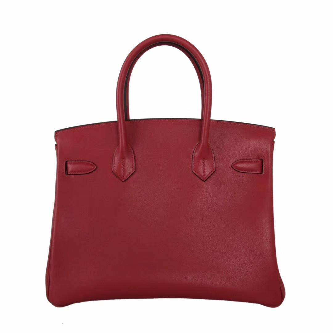 Hermès(爱马仕)birkin 铂金包 石榴红 金扣  swift 30cm