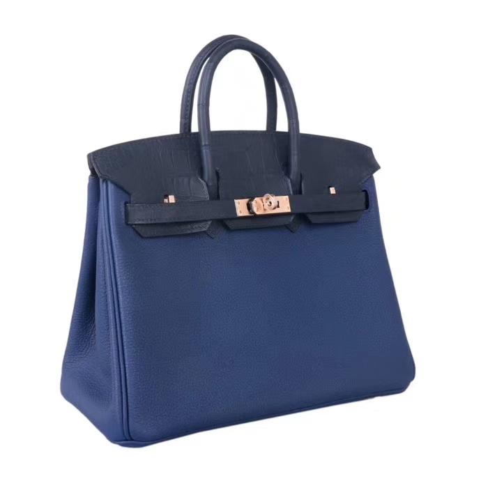 Hermès(爱马仕)birkin 铂金包 宝石蓝 手柄 包盖 抽带 同色鳄鱼 金扣 25cm