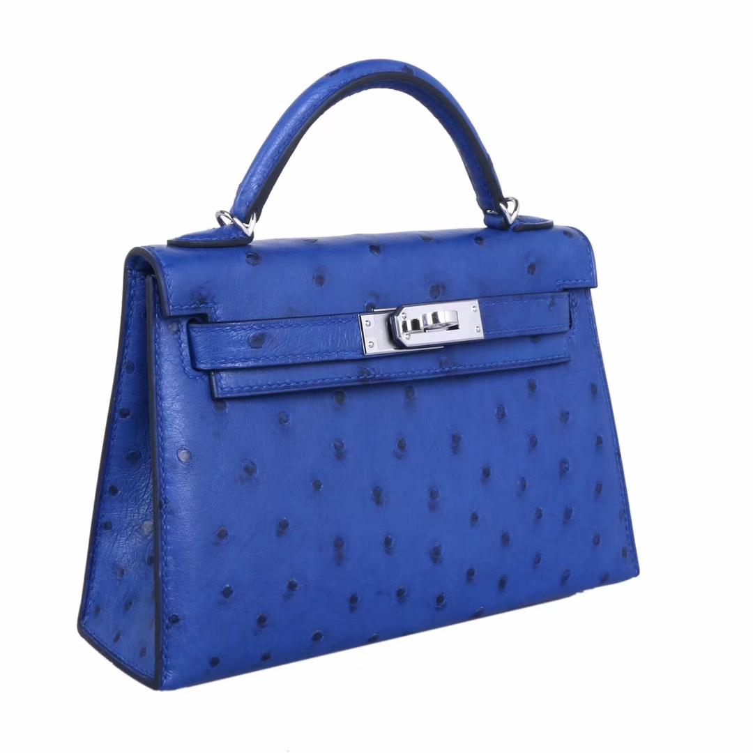 Hermès(爱马仕)miniKelly 二代 银扣 7T电光蓝 南非鸵鸟 20cm
