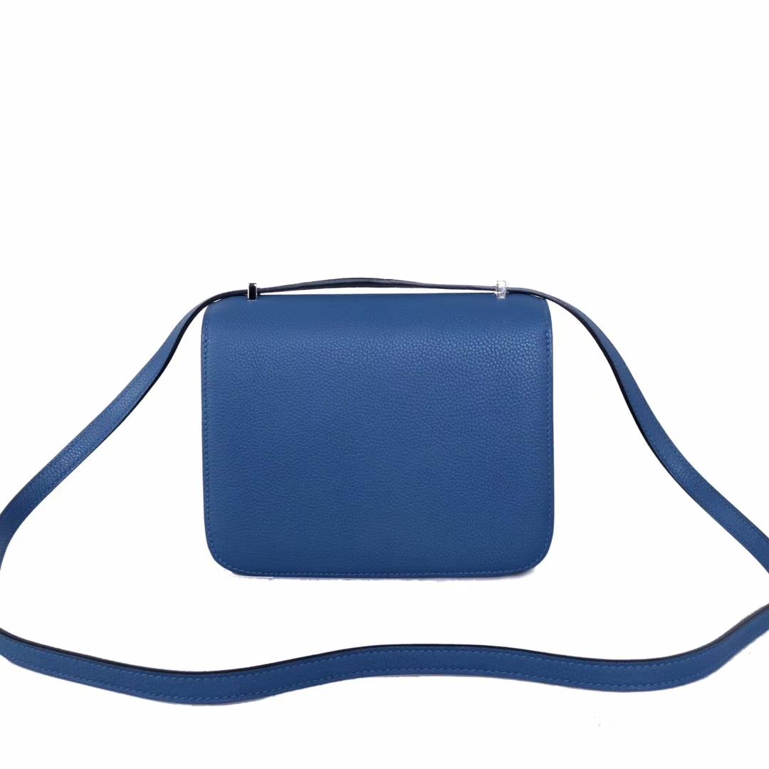 Hermès(爱马仕)Constance 空姐包 R2玛瑙蓝 evercolor 银扣 19cm
