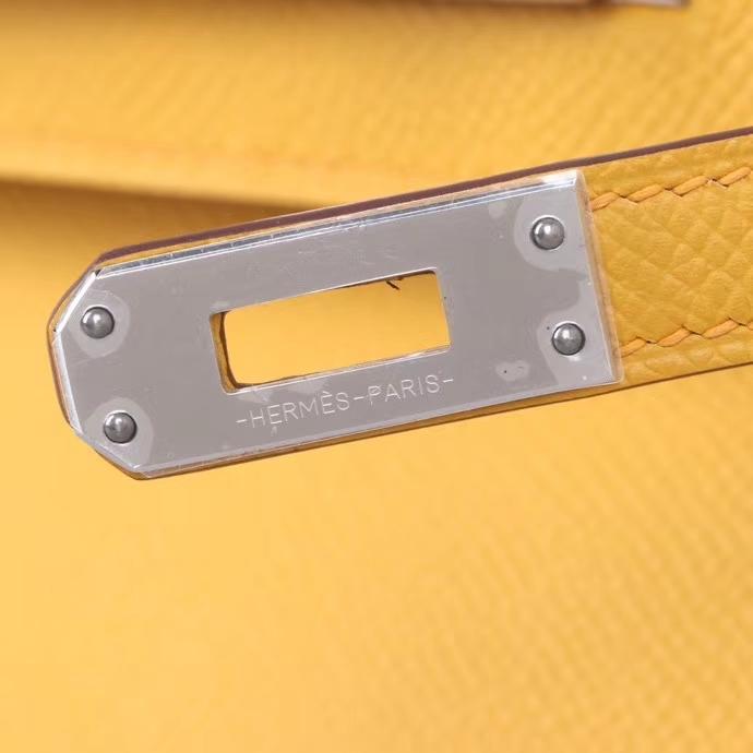 Hermès(爱马仕)miniKelly 琥珀黄  Epsom皮 银扣 1代
