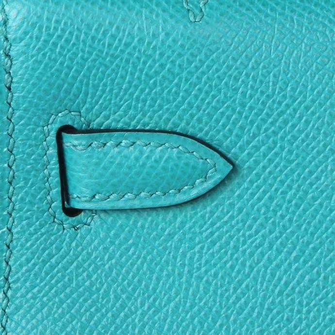 Hermès(爱马仕)miniKelly 孔雀蓝 Epsom皮 金扣 1代