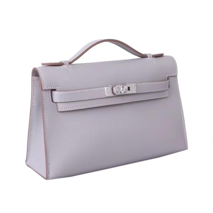 Hermès(爱马仕)kelly凯莉包 小牛皮 珍珠灰 银扣 全手工 28cm 现货
