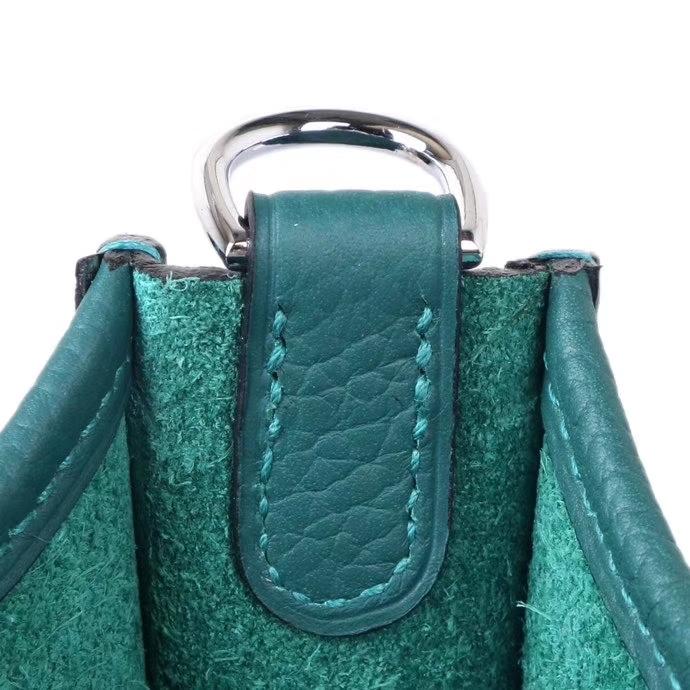Hermès(爱马仕)mini evelyne 17cm 孔雀绿  银扣  togo
