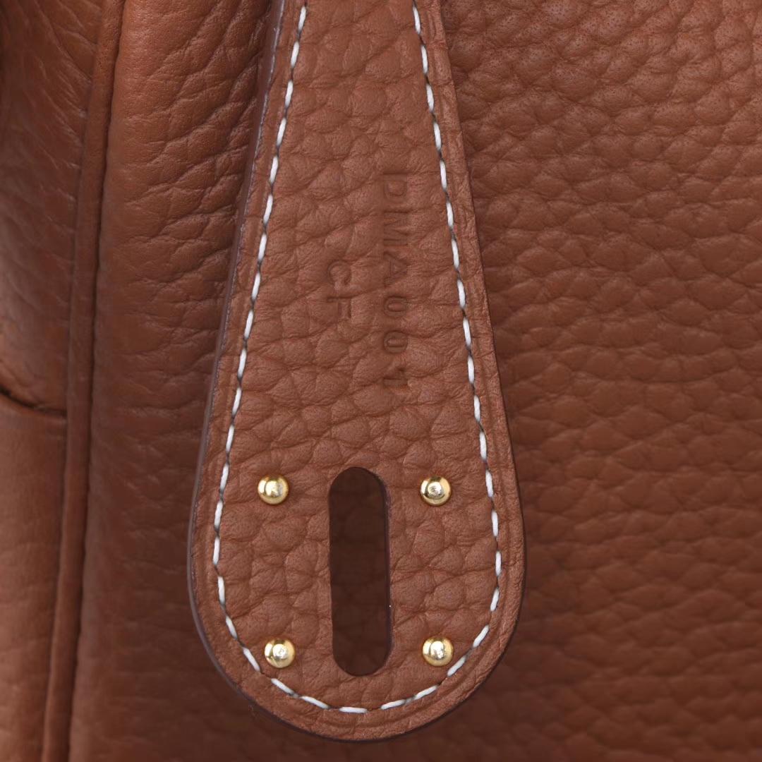 Hermès(爱马仕)mini lindy20  金扣 金棕色 Togo