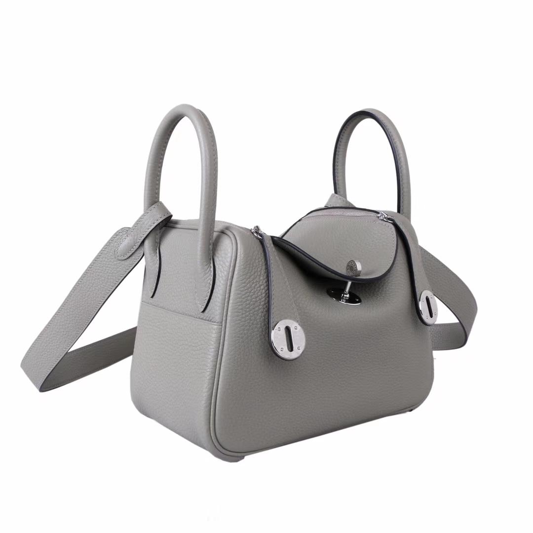 Hermès(爱马仕)mini lindy20  银扣 鼠尾草灰 Togo