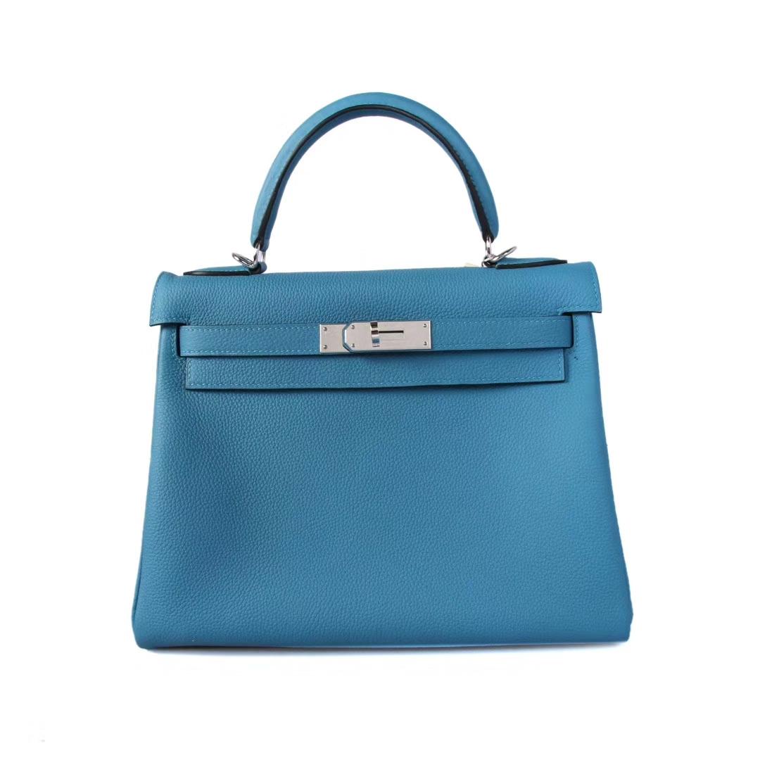 Hermès(爱马仕)Kelly 凯莉包 牛仔蓝 togo 银扣 28cm